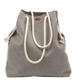 Tkaninowa torebka basic me 15 beżowo-szara
