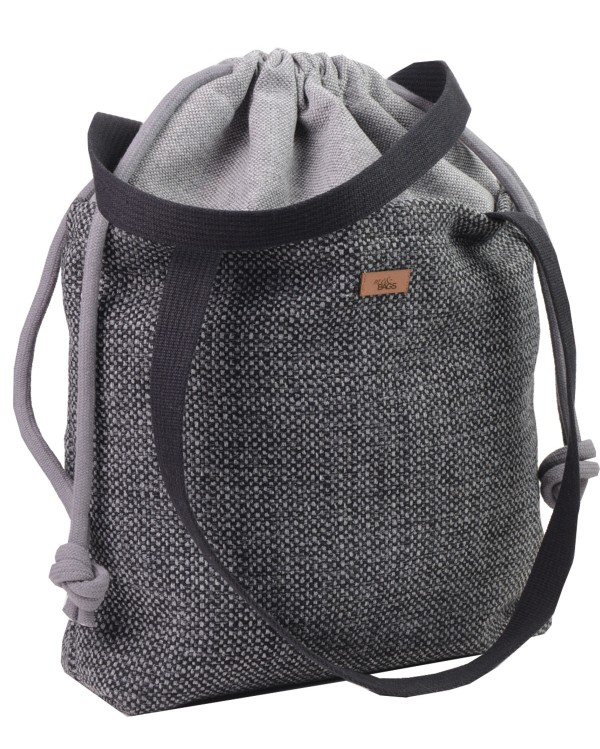 "SACK BAG ""DUOBAG""  fabric  ""DUOBAG"" FABRIC BLACK AND GRAY MELANGE"