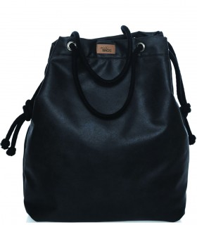 Basic me 15 fabric handbag - black made of eco-leather