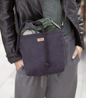 """copy of Basic me 22 """"Duo mini"""" leaves + eco suede black"""