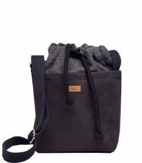 "CROSSBODY SMALL BAG ""DUO MINI"" eco suede black"