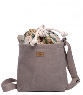"""Mała torebka """"DUO MINI"""" przez ramię, kolor taupe bloom"""