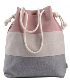 Basic me 15 fabric handbag pink-cream-gray