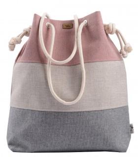 Tkaninowa torebka basic me 15 trzy kolory róż-krem-szary