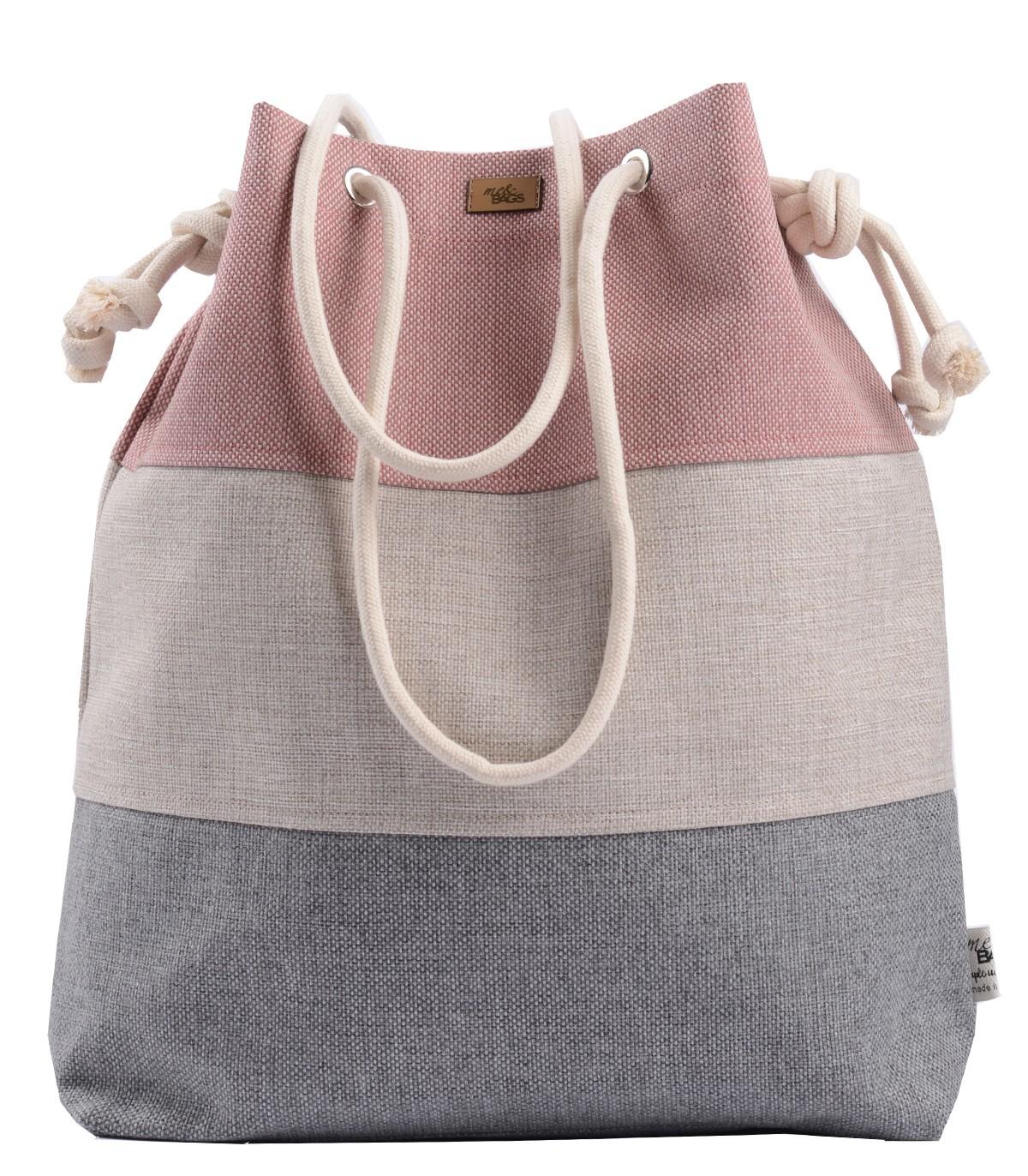 25ad85c961c06 Tkaninowa torebka basic me 15 trzy kolory róż-krem-szary