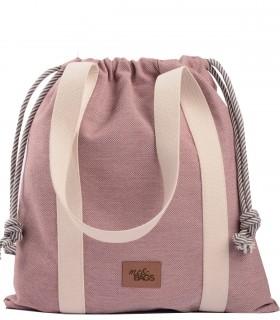 "Duża torebka worek ""BAGGY"" materiałowa, kolor różowy"