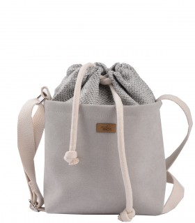 "CROSSBODY SMALL BAG ""DUO MINI"" eco suede light gray"