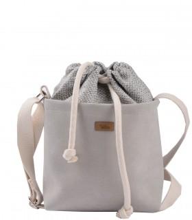 "CROSSBODY SMALL BAG ""DUO MINI"" eco suede light gray"