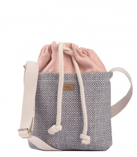 "CROSSBODY SMALL BAG ""DUO MINI"" fabric pink grey"
