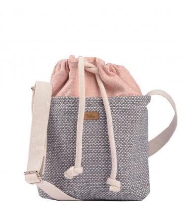 """CROSSBODY SMALL BAG """"DUO MINI"""" fabric pink grey"""