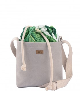 "CROSSBODY SMALL BAG ""DUO MINI"" ECO SUEDE light gray BALI"