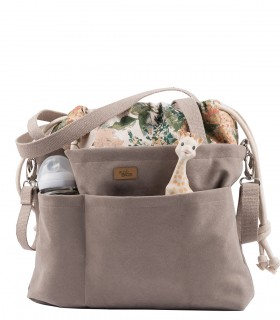 "Mom Bag ""Me&BABY"" eco suede taupe bloom"