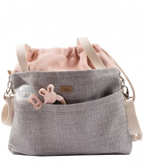 "MOM BAG ""ME&BABY"" fabric gray pink"