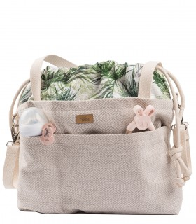 "MOM BAG ""ME&BABY"" fabric BEIGE palms"