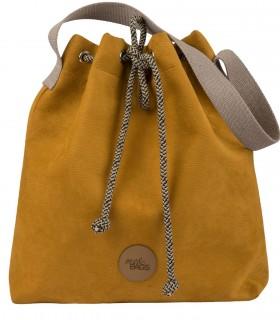 "Torebka worek ""BUCKET BAG"" z eko-zamszu, kolor żółty"