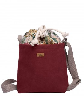 "CROSSBODY SMALL BAG ""DUO MINI"" eco suede burgundy bloom"