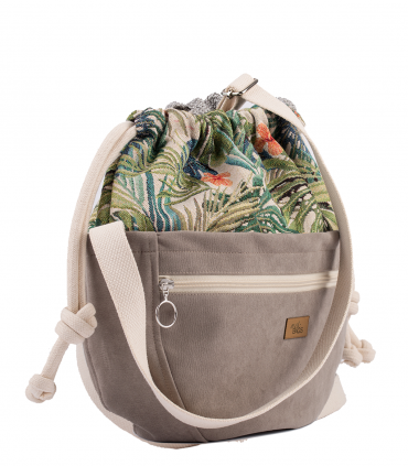 CROSSBODY BAGS ECO SUEDE TAUPE PALMS