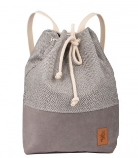 WOMEN'S BACKPACK SACK ECO-SUEDE/FABRIC gray