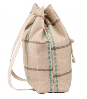 Materiałowy plecak worek, kolor beżowy w kratkę