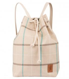 Materiałowy plecak-worek, kolor beżowy w kratkę