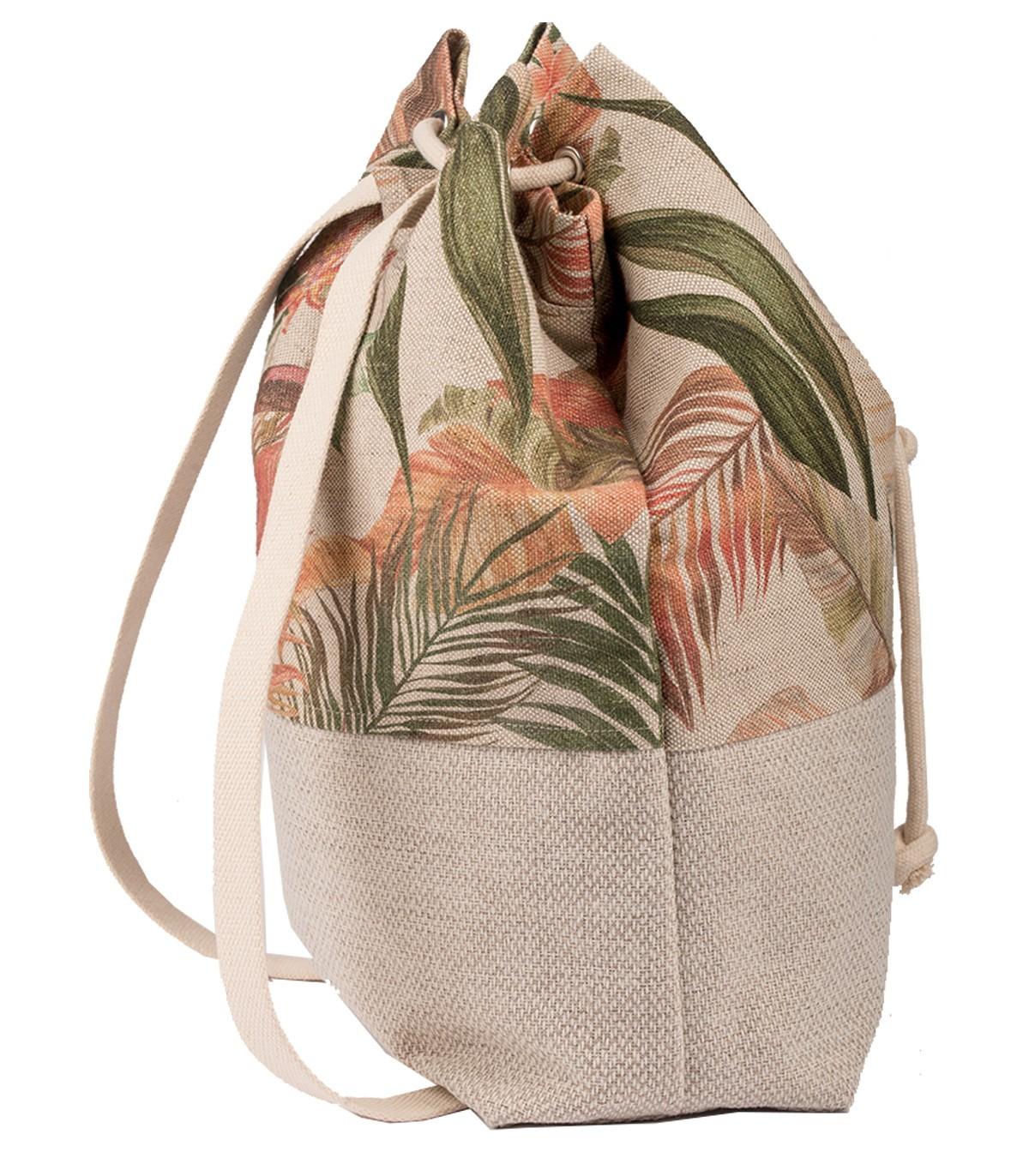 Materiałowy plecak worek, kolor kremowy w liście me&BAGS