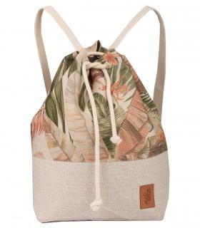 Materiałowy plecak-worek, kolor kremowy w liście