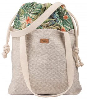 "SACK BAG ""DUO BAG"" FABRIC CREAM PALMS"