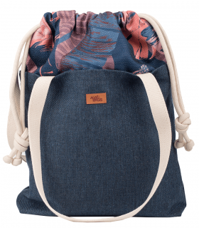 "SACK BAG ""DUO BAG"" FABRIC  NAVY FLOWER"
