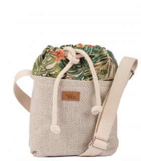 "CROSSBODY SMALL BAG ""DUO MINI"" fabric cream palms"