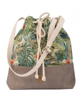 Bucket Bag taupe palms.