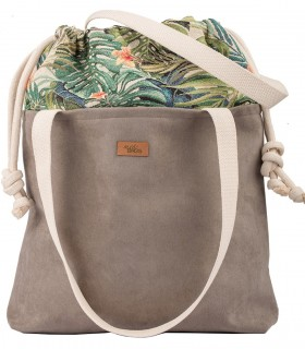 "SACK BAG ""DUOBAG"" ECO SUEDE TAUPE PALMS"