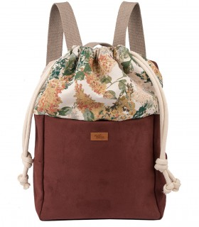 Plecak damski z eko-zamszu, kolor taupe bloom
