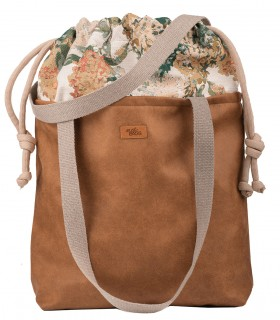 "SACK BAG ""DUO BAG"" ECO-LEATHER, HONEY COLOR BLOOM"