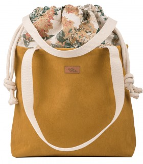 """SACK BAG """"DUO BAG"""" ECO SUEDE FADED YELLOW BLOOM"""