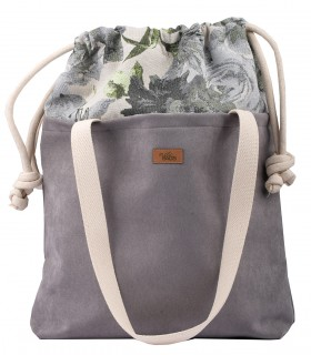 "SACK BAG ""DUO BAG"" ECO SUEDE GRAY ROSES"