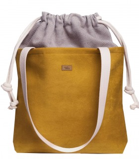 "SACK BAG ""DUO BAG"" eco suede  Faded yellow"
