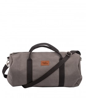 "SPORT AND TRAVEL BAG ""WEEKENDER"" ECO SUEDE GREY BLACK"