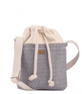"CROSSBODY SMALL BAG ""DUO MINI"" fabric cream grey"