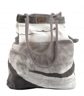 Tkaninowa torebka basic me 15 szara z nadrukiem w fale