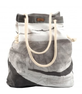 Basic me 15 fabric handbag - gray with wave imprint