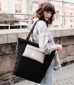 Black shopper bag with pocket