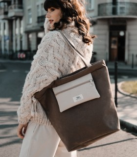 Taupe shopper bag with pocket