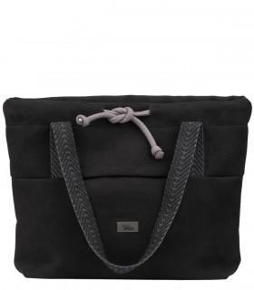 SHOPPER BAG  BAGGERKA ECO-SUEDE BLACK with dark handles