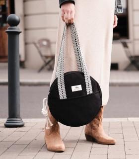 Okrúhla taška cez plece, čierna