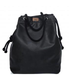 Tkaninowa torebka basic me 15 czarna z eko-skóry
