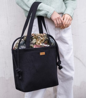 "SACK BAG ""DUOBAG"", black with flowers"