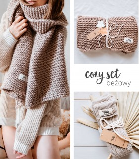 Cozy set BEIGE: hight tights socks & scarf