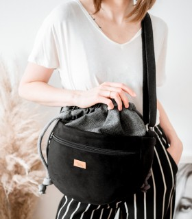 CROSSBODY BAGS ECO SUEDE BLACK-ASH
