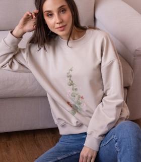 Bawełniana bluza z nadrukiem, kremowa