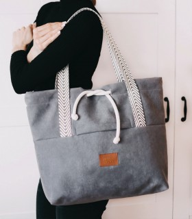 SHOPPER BAG BAGGERKA ECO-SUEDE GREY